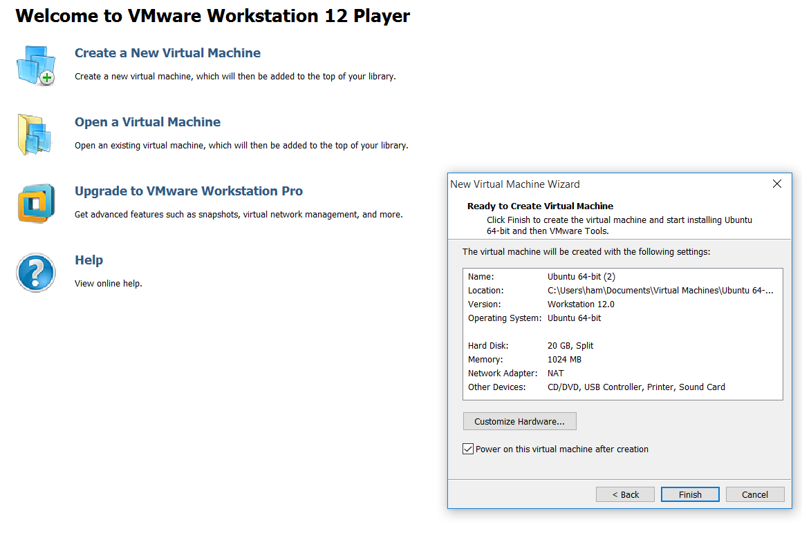 Customise hardware in the virtual machine