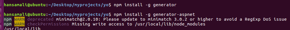 install a generator using npm install command